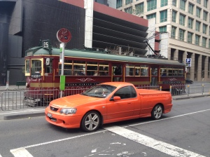 A City Circle tram with another Australian icon... a Ute!